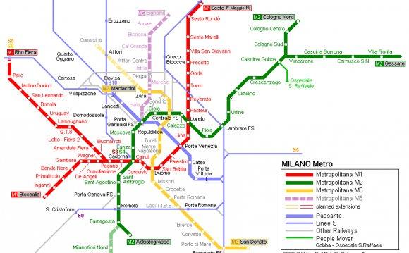 Милан. Схема метрополитена: