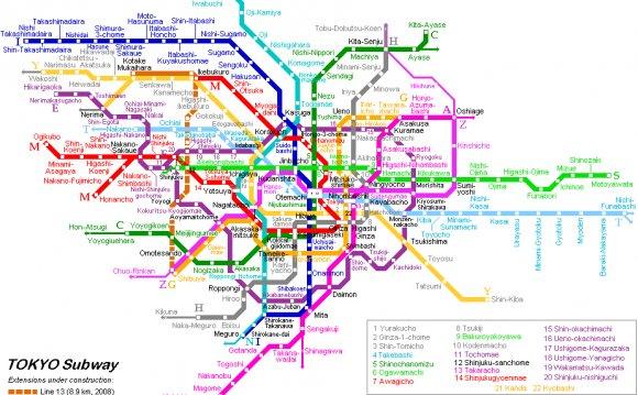 Карта метро Токио