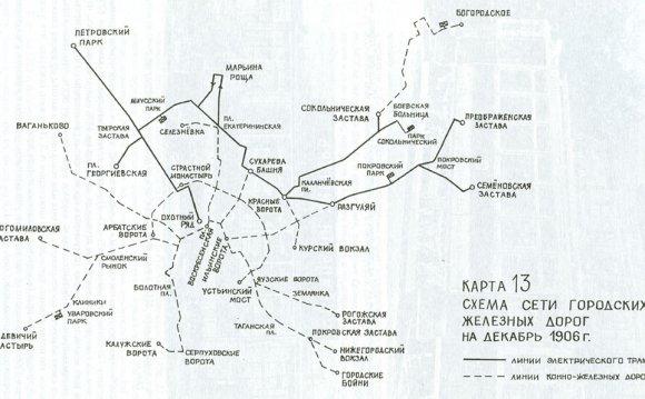 1899: Схема сети опытных линий